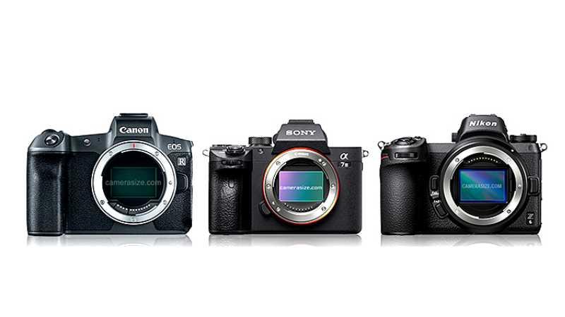 Сравнение размеров Canon EOS R, Nikon Z и Sony a7