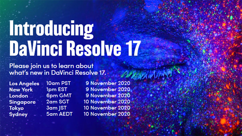 Blackmagic Design представит DaVinci Resolve 17 онлайн 9 ноября 2020 года