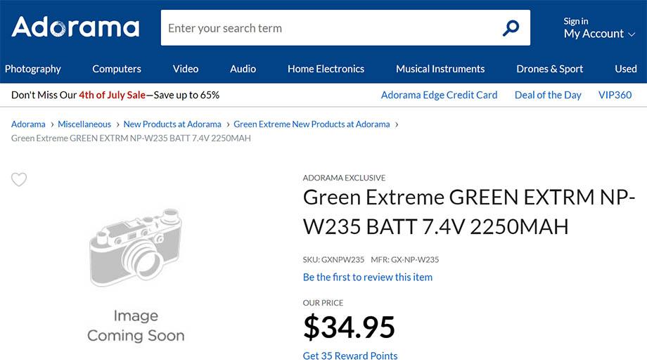 Аккумулятор Green Extreme NP-W235 для Fuji X-T4