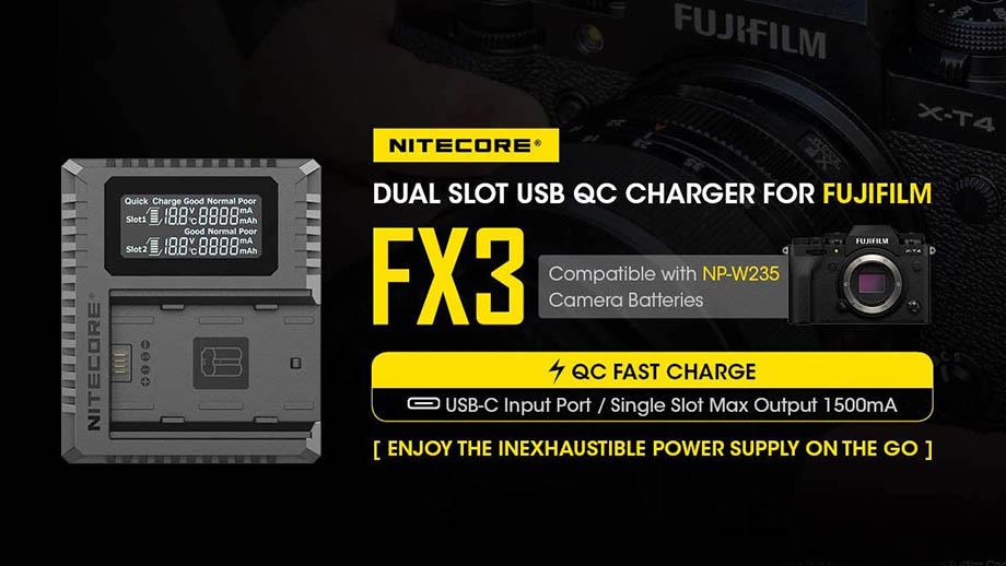 Nitecore FX3, быстрое зарядное устройство для аккумуляторов Fuji X-T4
