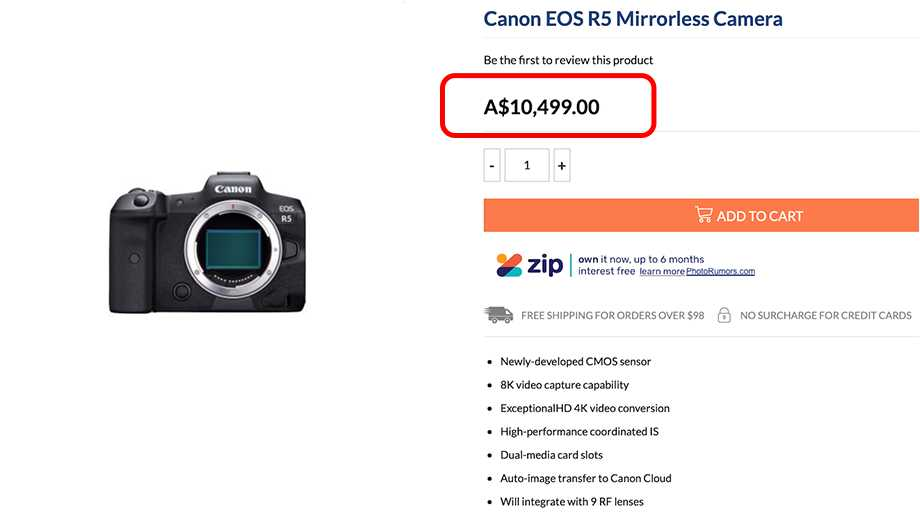Canon EOS R5 будет стоить $6800?