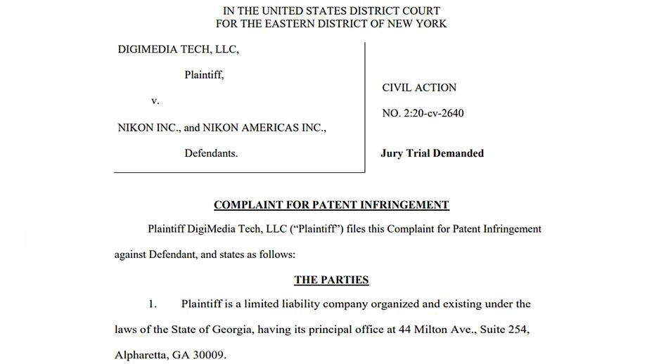 Компания Digimedia Tech подала в суд на Nikon за нарушение патентов