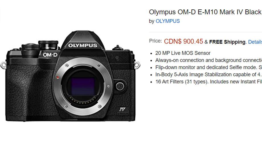 Olympus E-M10 Mark IV появился в предзаказе на Amazon
